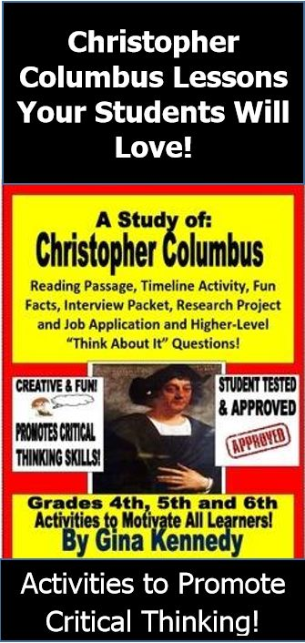 """EXCELLENT UNIT ON CHRISTOPHER COLUMBUS! Reading Passage, Timeline, Creative Interview Activity, """"Times of Christopher Columbus Research Questions, Job Interview, """"Columbus Think About-It Questions and So Much More! This unit will provide the students with a solid background on the travels, experiences and journeys of Christopher Columbus; but also provide many opportunities to use higher level thinking skills to look at his life from different perspectives. $"""
