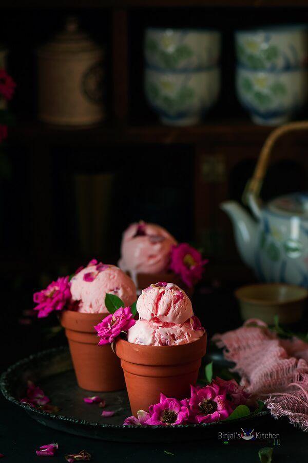 Rose Ice Cream - Binjal's VEG Kitchen