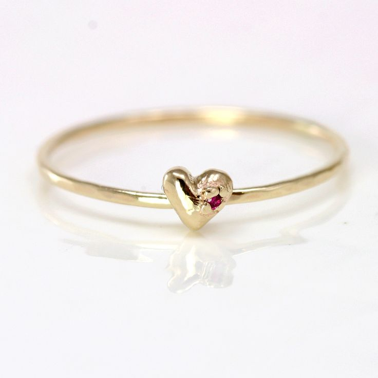 Ruby Heart Ring // A Plump Organic Heart with a Tiny Red Ruby on a Delicate 14k Gold Hammered Band // Solid 14k Gold Stacking Ring