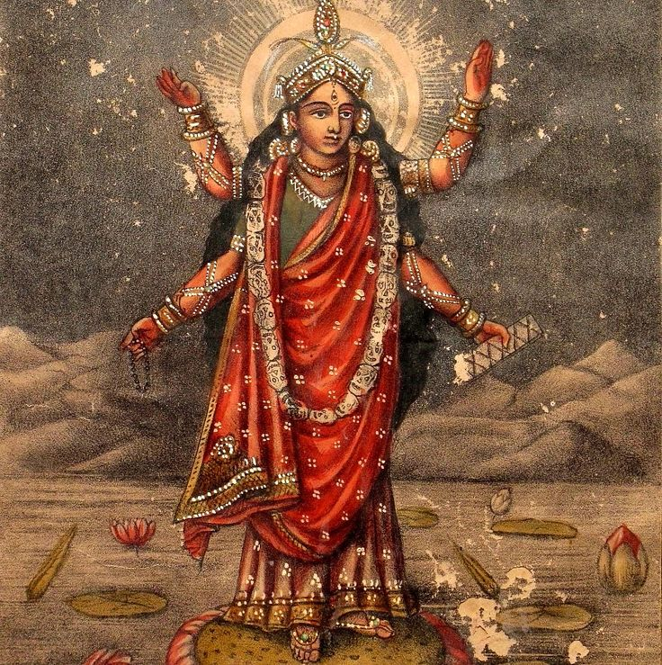 Durga Bhairavi, hand-colored lithograph, c. 1880, P.C.Biswas, Calcutta. Collection of Mark Baron and Elise Boisante, Om India.