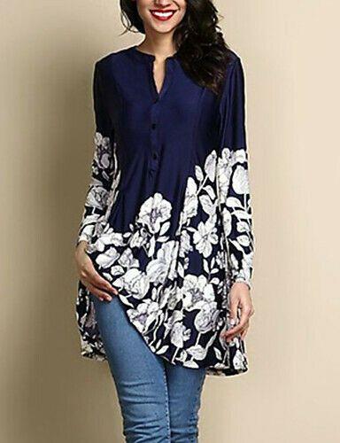 7fc755d49 Details about Women s Cotton Linen Floral Mid Long Shirts V-Neck ...