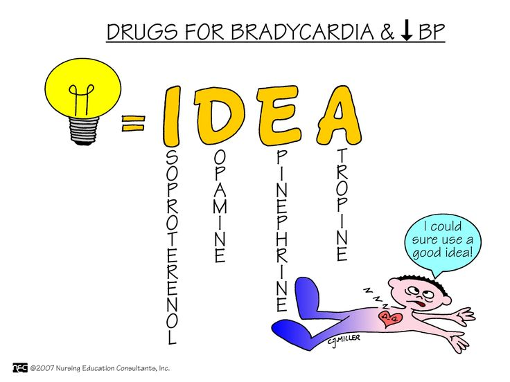 Drugs for Bradycardia and Low Blood Pressure Use IDEA to treat bradycardia and hypotension.