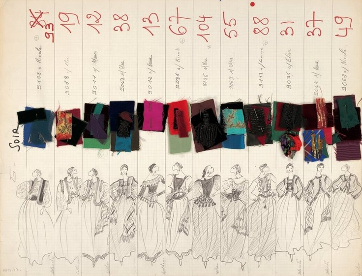 Yves St Laurent illustration with fabric swatches for each design