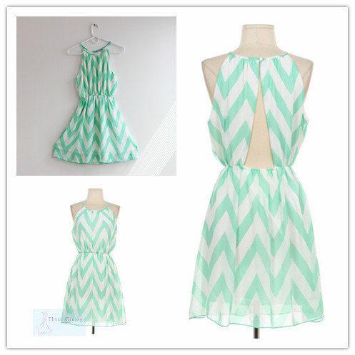 Mint Chevron Dress with Open Back Cute Chevron by ThreeDressy, $38.99