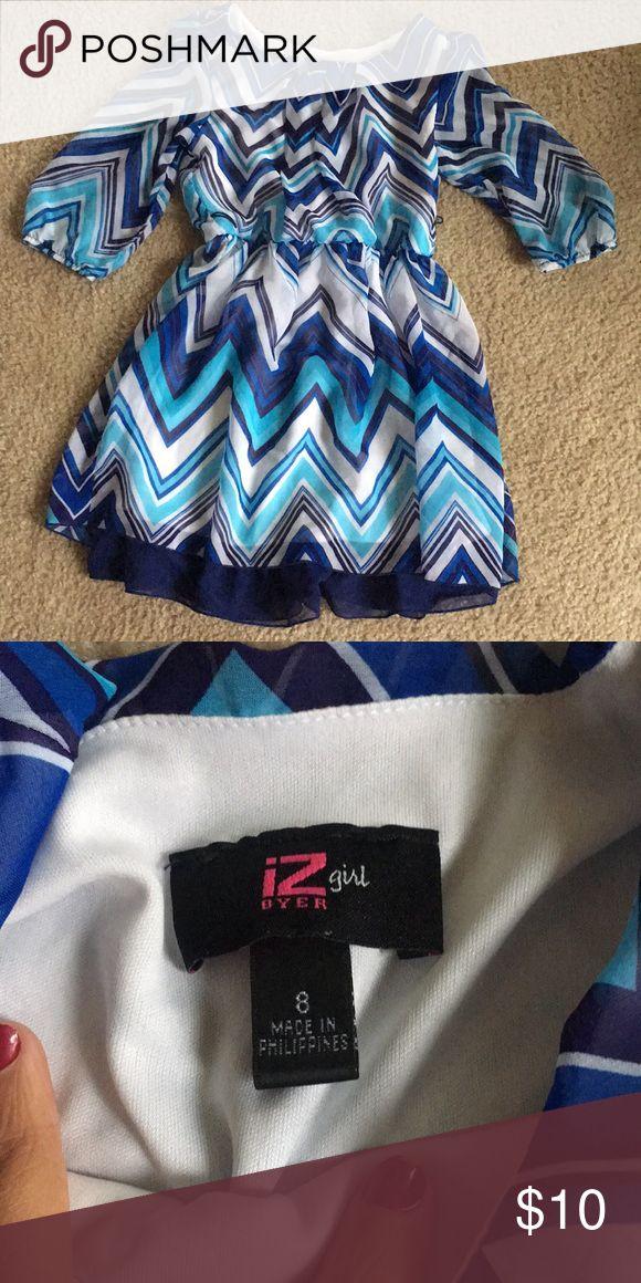 Girls Blue Chevron Dress Blue Chevron Dress. Size 8. Brand iZ Byer Dress is missing the belt. Iz Byer Dresses Formal