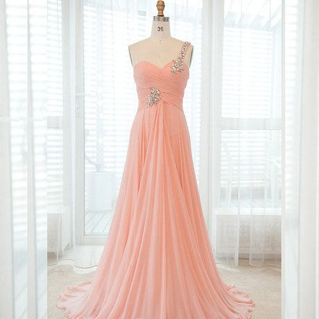 custom made one shoulder with beading decoration chiffon floor-lenght gown