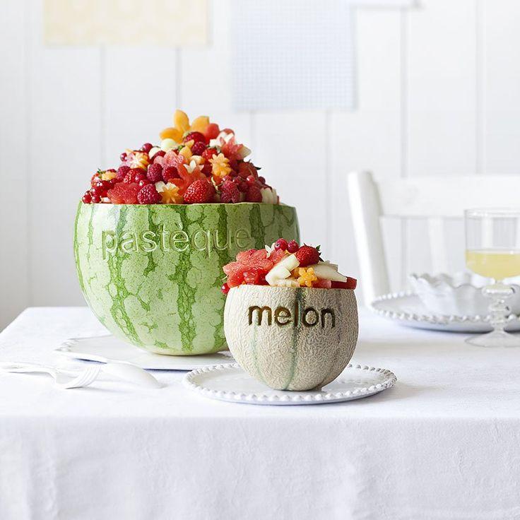 Melon et pastèque comme des saladiers gravés de leur nom / diy fruits / pastèque diy bol / melon diy bol