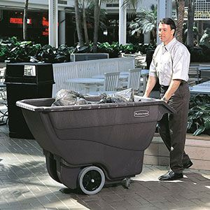 This Rubbermaid tilt cart works in the manner of a large wheelbarrow, but with two wheels instead of one. It's designed to transport bulky loads which can be easily tipped out once they have reached their final destination. https://www.esedirect.co.uk/p-4841-plastic-tilt-carts-in-400kg-and-600kg-capacity.aspx