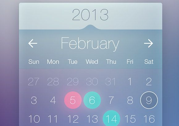 This freebie is a modern and clean semi-transparent calendar widget. Free PSD designed and released by Bulat Zalyayev.