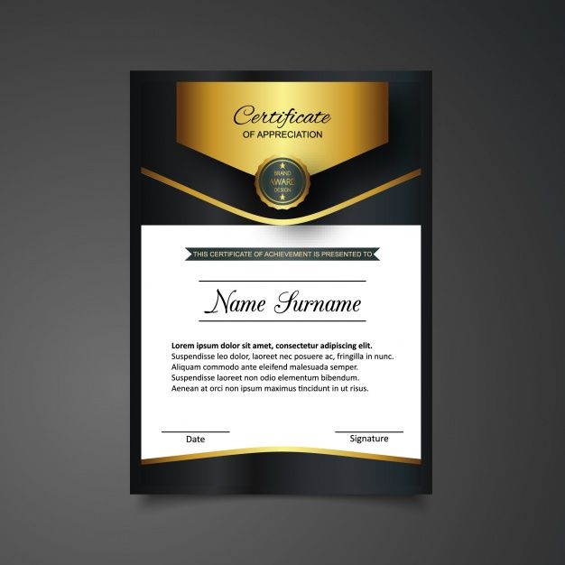 The 25 best certificate of appreciation ideas on pinterest golden and black certificate of appreciation template free vector yelopaper Gallery
