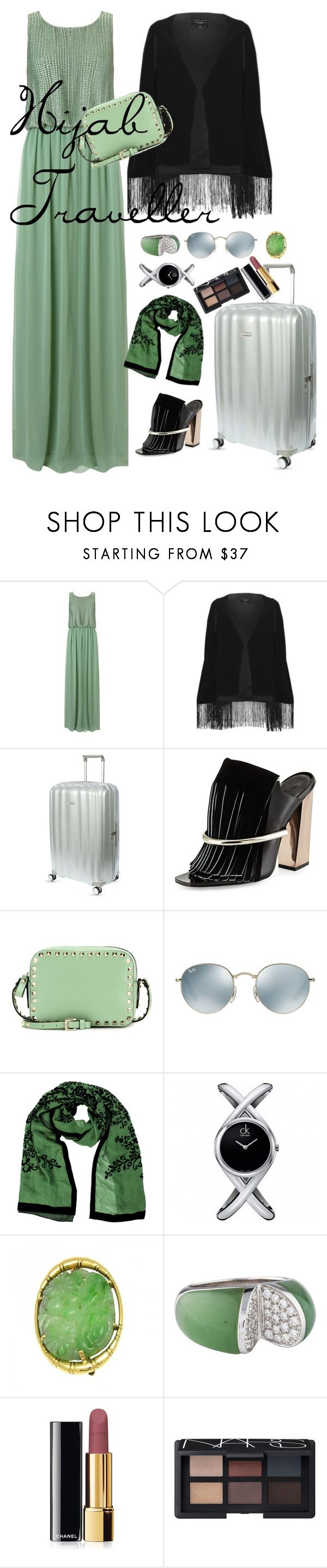 Hijab Traveller by dinyvia on Polyvore featuring beauty, NARS Cosmetics, Chanel, Moschino, Ray-Ban, Calvin Klein, Cartier, Samsonite, Valentino and Ariella