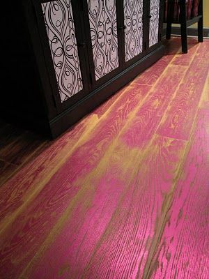 Pink Stained Floors... uhhh I could do without the pink, maybe some other color