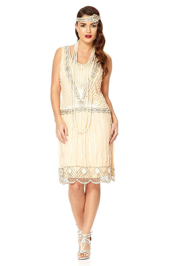 UK8 US4 Nude Blush Vintage inspired 1920s vibe Flapper Great Gatsby Beaded Charleston Sequin Art Deco Downton Abbey Mod Dress New Hand Made