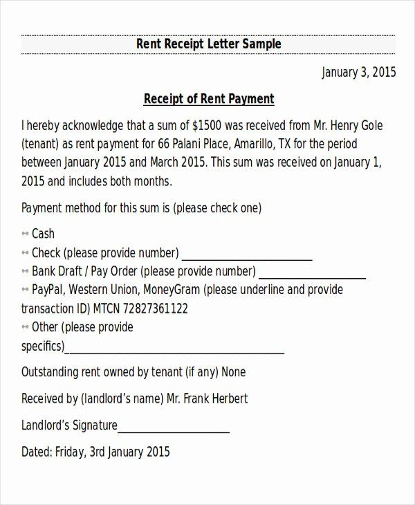 20 Proof Of Rent Payment Letter Receipt Template Confirmation Letter Lettering