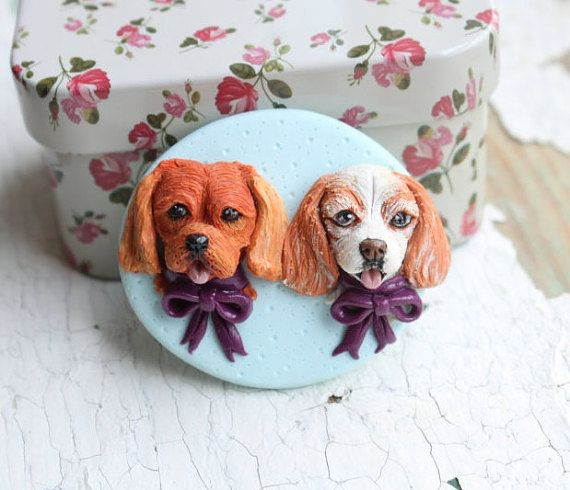 Custom dogs portrait - Polymer clay fridge magnet/ornament