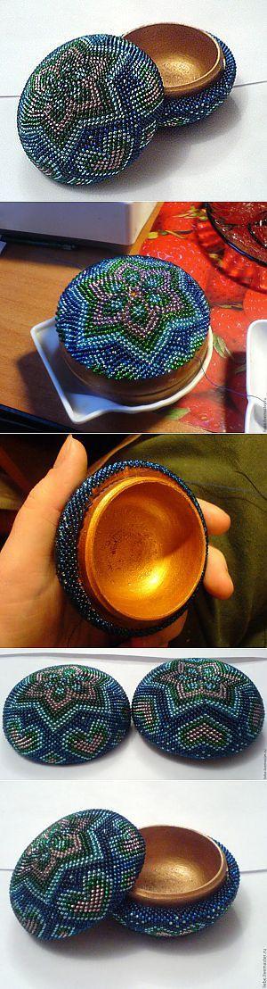 Пошаговая фото-инструкция по оплетению круглой деревянной шкатулки. - | Бисерные чудеса | Постила