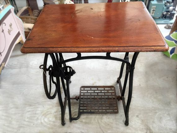 Side Table on Sewing Machine Base by reclaimedhome on Etsy