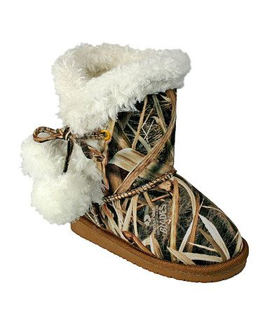 I think this is more what their mother would LOVE but the girls would still look very cute n them!!! Look what I found on #zulily! Tan Mossy Oak Camo Pom-Pom Boot by DAWGS #zulilyfinds