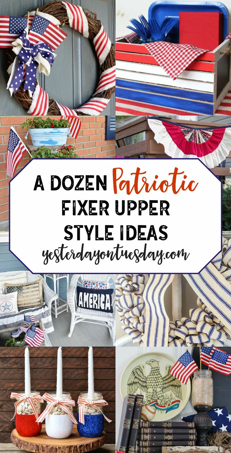 Patriotic Modern Farmhouse Ideas for Memorial Day and 4th of July. Fun red, white and blue ways to dress up your home this summer!