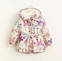 Dětská zimní vypasovaná bunda pro holčičky s malovanými králíčky - POŠTOVNÉ ZDARMAPošta Zdarma