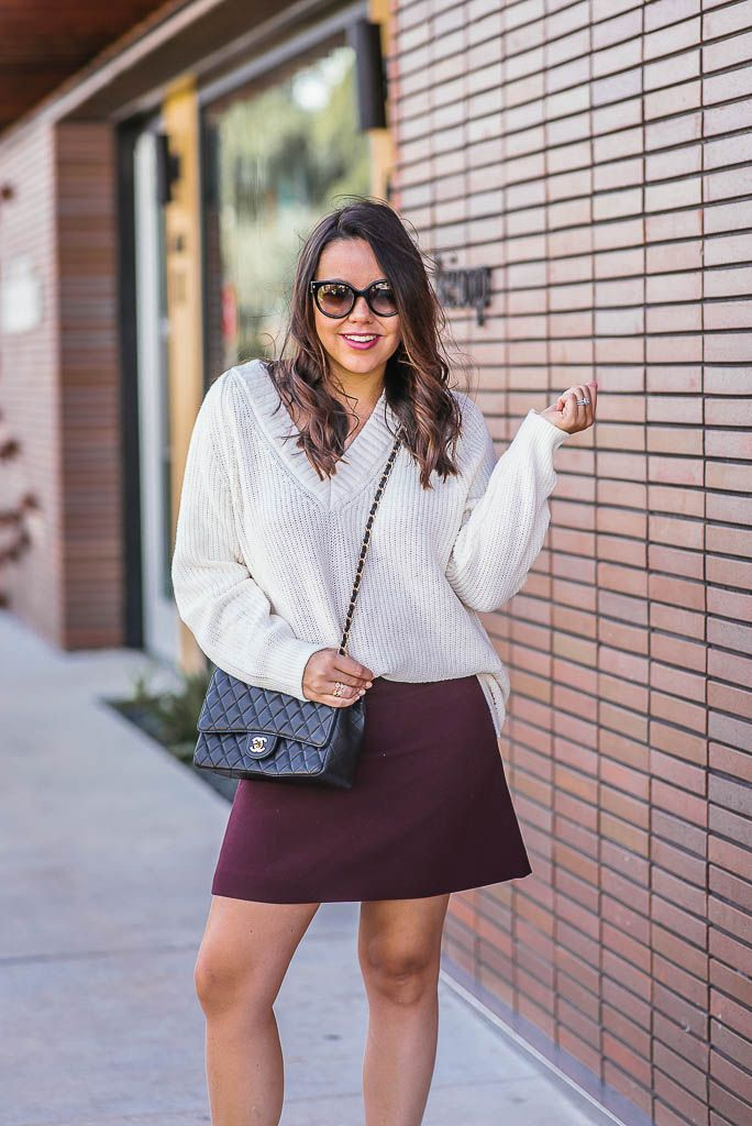 67e5c7ffe25 Chunky Ivory sweater and mini skirt