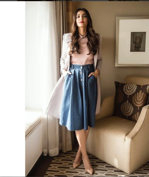 Glam Gal - Sonam Kapoor Glam Check - Sonam wearing an outfit from Dolly J and is styled by her sister Rhea Kapoor. She choose to pair knee length denim skirt with a blush colored shirt and a taupe. -Your Glam Pal, Bee & Blu by Srishti