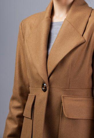 Camel Herringbone Coat – GEHRICH