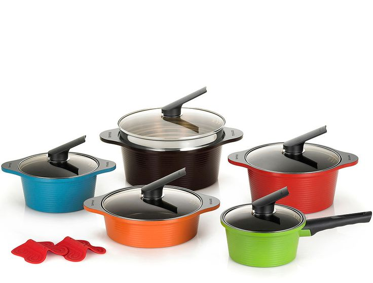 Happycall Hard Anodized Non-Stick Ceramic Pots Steamer 13-Piece Cookware Set New #Happycall
