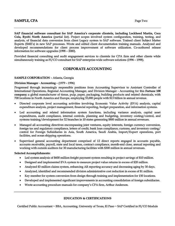accounting manager resume financial analyst tax