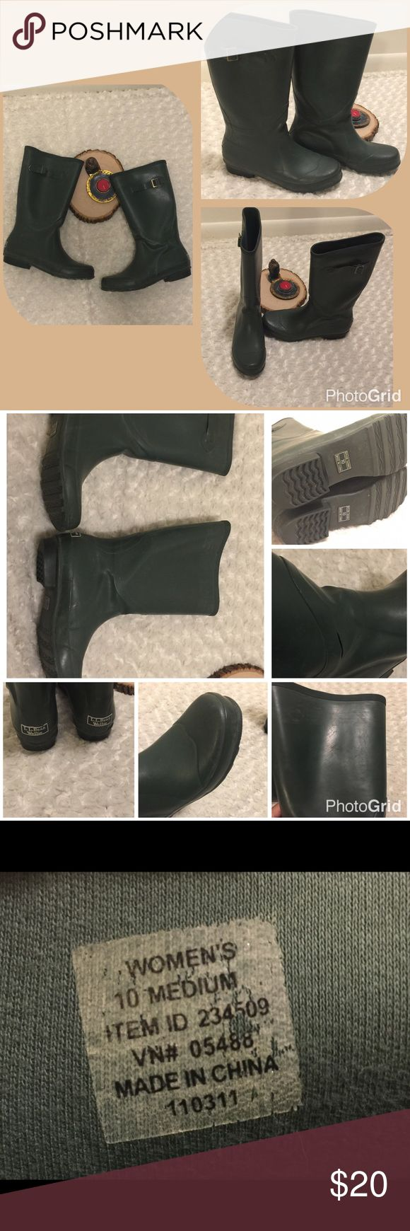 L.L. Bean Wellie Rain Boots Army Green SZ 10 These super cute and durable rain boots are pre-owned and gently used with some wear (please see photos). The right boot also has a small surface hole in the rubber (please see photos), but the function of the boot is not disturbed. Size 10 medium. Color: Green. L.L. Bean Shoes Winter & Rain Boots
