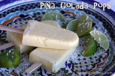 Pina Colada Pudding Pops - (1) small box instant coconut pudding, (1) 13.5 ounce coconut milk, 1 tablespoon lime juice(1) 8 ounce crushed pineapple, 1/3 cup shredded coconut. Mix first 3 ingredients in blender until smooth, then add in coconut and pineapple and pulse a few times to incorporate. Put in molds and freeze.  ourbestbites.com