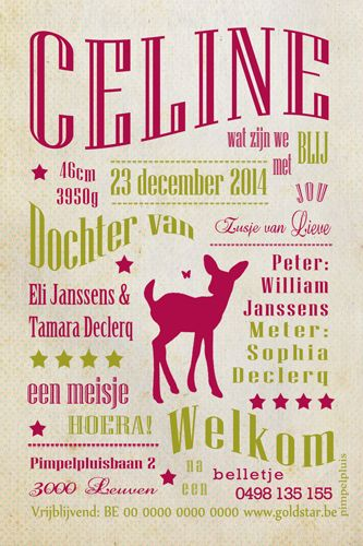 Geboortekaartje meisje - Celine - leuk tekstontwerp met hertje - Pimpelpluis - https://www.facebook.com/pages/Pimpelpluis/188675421305550?ref=hl (# vintage - hert - hertje - roze - dieren - kleurrijk - layout - retro - origineel)