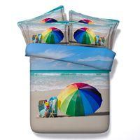 비치 침구 세트 3D 바다 조개 이불 커버 침대 시트 침대 캘리포니아 킹 퀸 사이즈 더블 트윈 린넨 디자이너 4 개