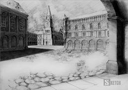 Old town market square pencil drawing. Old architecture drawing. Rysunek starego rynku, rysunek architektoniczny starych kamienic www.kurs-rysunku.com.pl