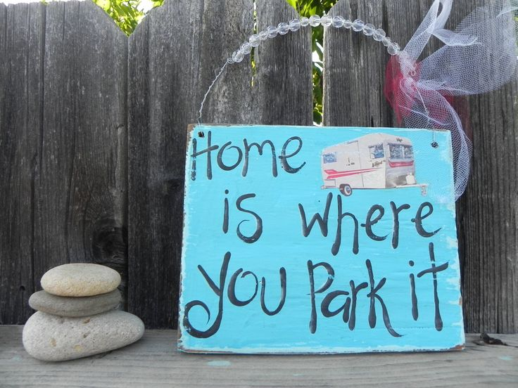 Home Is Where You Park It Vintage Inspired Yummy TURQUOISE Sign Rustic Glitter RV Camper