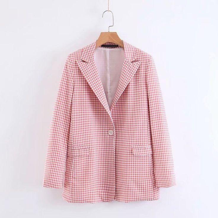 2019 Vintage Single Button Office Ladies Plaid Blazer Long Sleeve Loose Pink Sui…