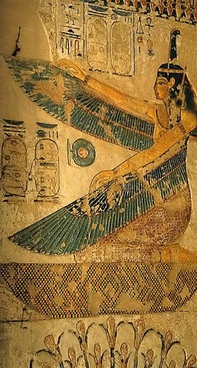 Goddess Maat with outspread wings and kneeling on a hieroglyphic sign which could signify 'mourn', was utilized at the entrance to a number of later New Kingdom royal tombs. 19th Dynasty. Tomb of Siptah. Valley of the Kings. Western Thebes. Egyptwinged-goddess-maat-relief-397x739