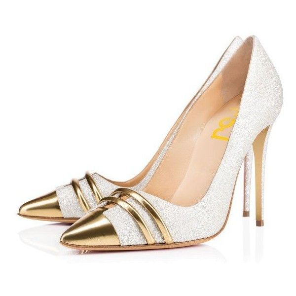 Silver and Gold Glitter Shoes Stiletto Heel Evening Pumps ($80) ❤ liked on Polyvore featuring shoes, pumps, holiday shoes, stiletto high heel shoes, evening pumps, stiletto heel shoes and evening shoes