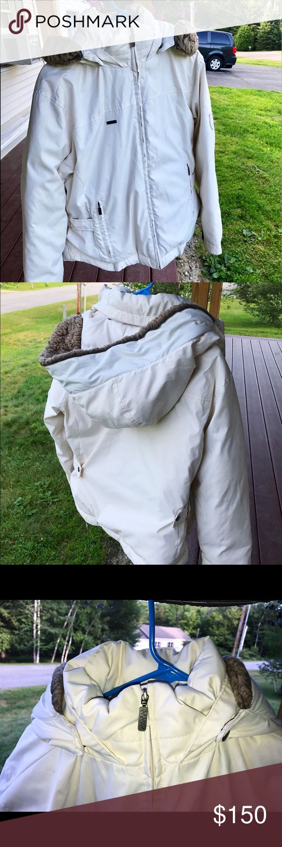 COLUMBIA DOWN JACKET  FINAL SALE ❗️ Lightly worn, fantastic condition, removable faux fur hood, very comfy down feathers, w/ additional lining around cuffs & neckline. White/ivory shell, with beige interior :) Too big/wide for my long torso! Make an offer  Columbia Jackets & Coats Puffers