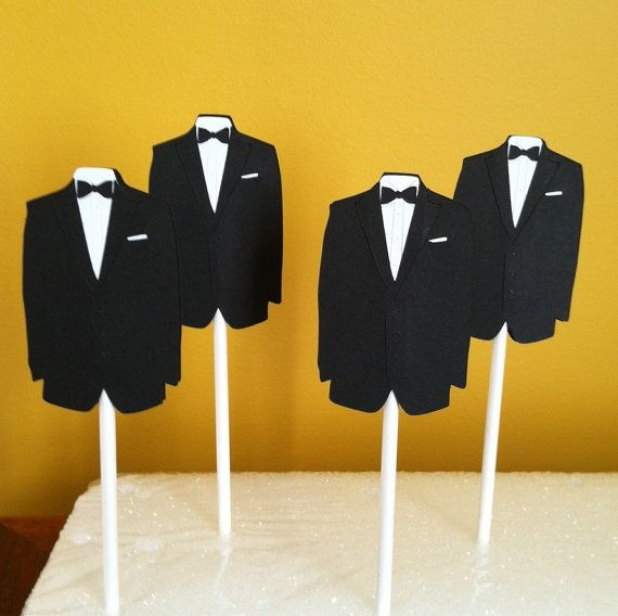 $6 esty TUXEDO CUPCAKE TOPPERS Set of 12. Or use in center pieces