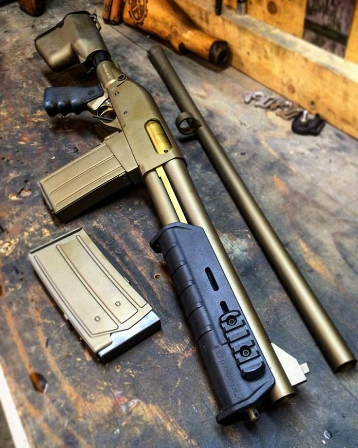 DA Grizzly Mag, with a custom-fitted Remington 870 Wingmaster trigger group from a scrapped '53.