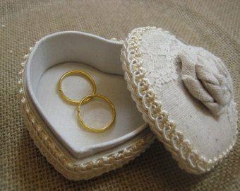 Rustic Wedding Ring Bearer Keepsake Box muslin and  lace