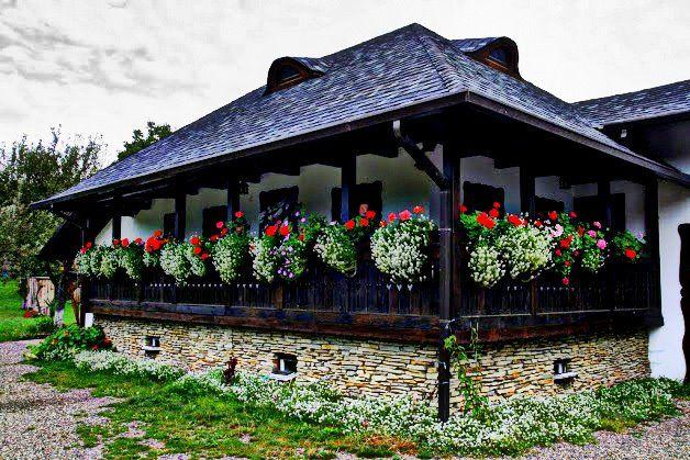 Traditional house in Gura Humorului, Suceava, Bucovina, Romania.
