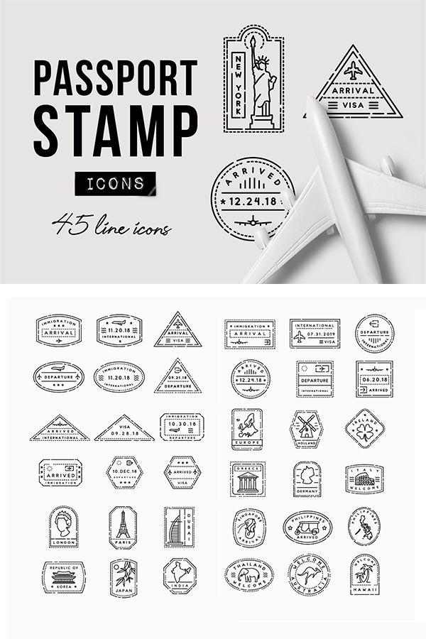 45 Passport Stamp Icons Travel Passport Stamps Travel Stamp Stamp