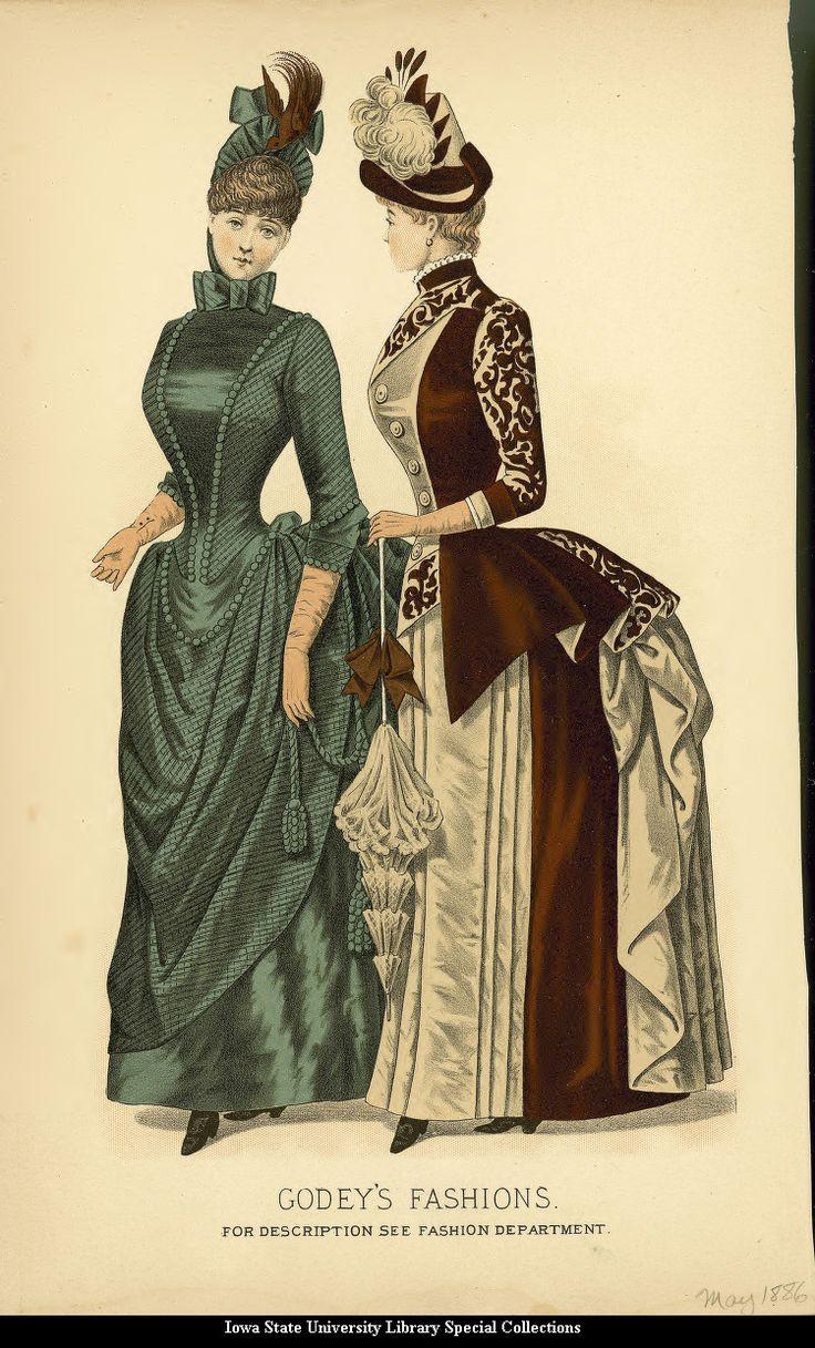 Walking dresses, 1886, Godey's Fashions                                                                                                                                                                                 More
