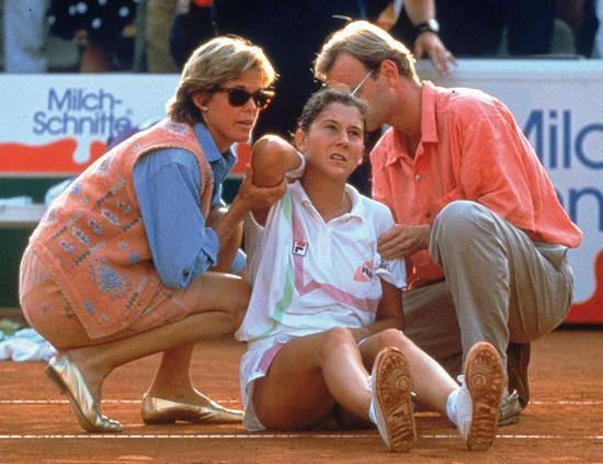 April 30, 1993 - Monica Seles, the World Number 1, was stabbed in the back during a changeover of a Quarter-Final match against Magdalena Maleeva at the Citizen Cup in Hamburg, Germany.Seles wouldn't rejoin the tour until the 1995 Canadian Open, a tournament that she won, but was never able to dominate as she once had.