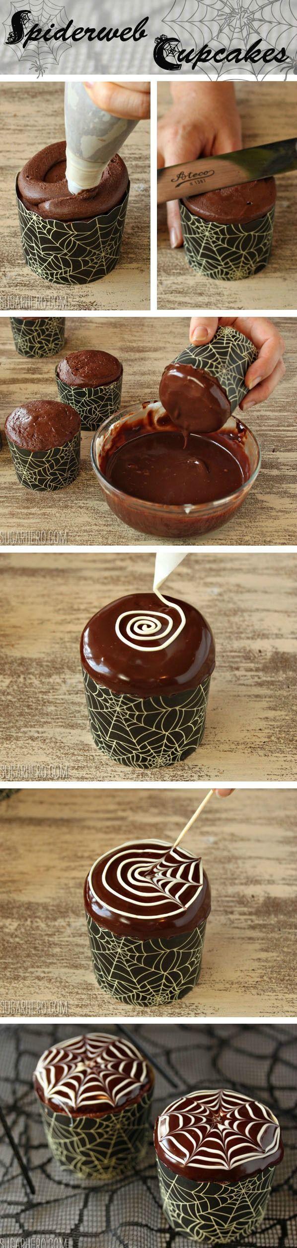 How to make easy spiderweb cupcakes | From SugarHero.com  #HalloweenFood #Family #ShermanFinancialGroup