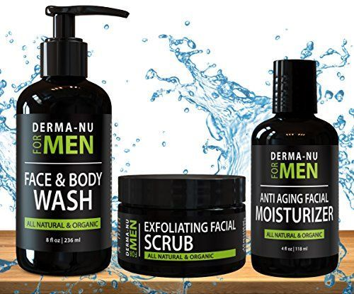 All-In-One Anti Aging Daily Skincare Set for Men - Gentleman's Grooming Kit - Unclogs Pores, Fights Acne and for Ingrown Hair Prevention - 3 Piece Set *** Check out this great product.