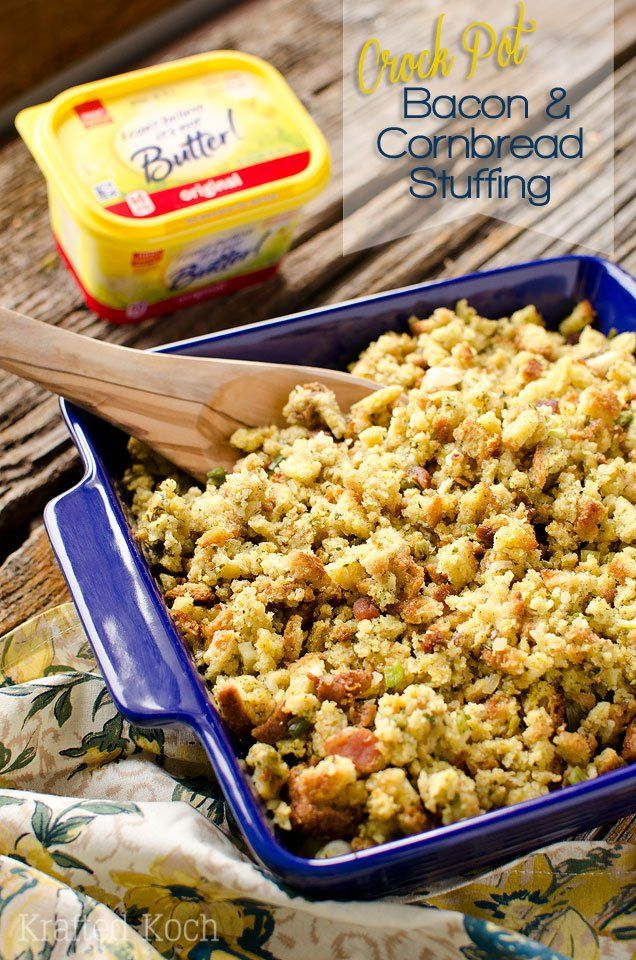 Crock Pot Bacon & Cornbread Stuffing - Krafted Koch - A quick and simple side dish recipe made in your slow cooker perfect for the holidays! #TimetoBelieve #CleverGirls @icbinotbutter