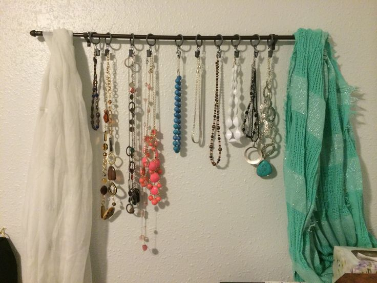 Jewelry holder using a curtain rod | Tried | Pinterest